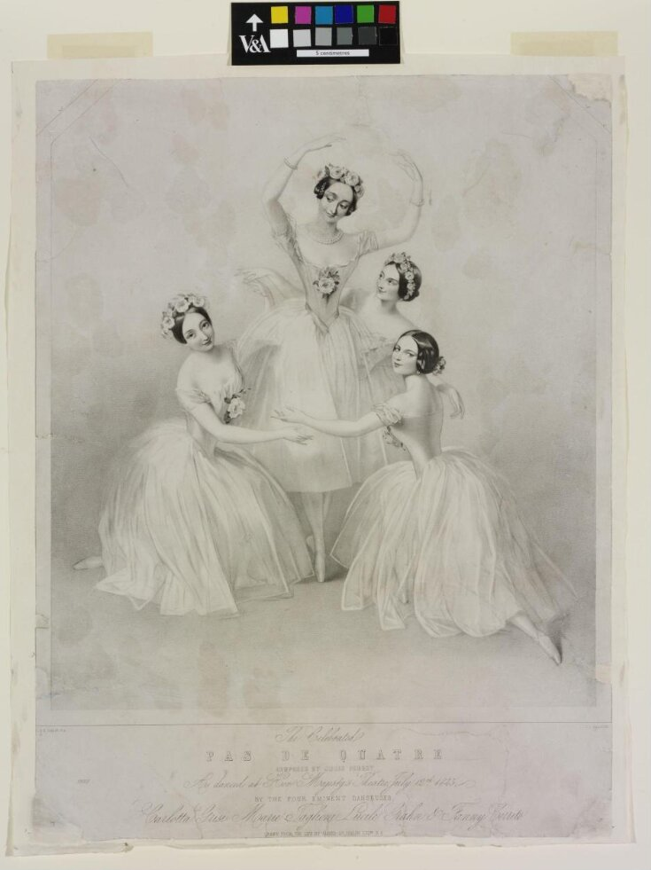 The Celebrated / PAS DE QUATRE / COMPOSED BY JULES PERROT / As danced at Her Majesty's Theatre July 12th 1845, / BY THE FOUR EMINENT DANSEUSES, / Carlotta Grisi, Marie Taglioni, Lucile Grahn & Fanny Cerrito top image