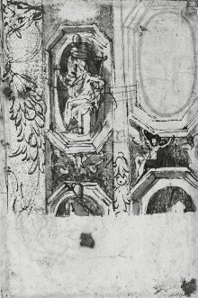 Recto: Sketch showing details of a decorative scheme for the eastern vault of the Madonna della Steccata, Parma thumbnail 1
