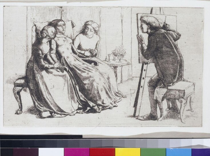 An invalid in an arm-chair, her hands held by two other ladies, one seated on each side. To the right an artist at his easel. top image