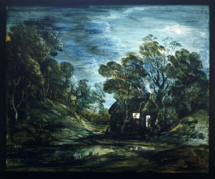Wooded Moonlight Landscape with Pool and Figure at the Door of a Cottage top image