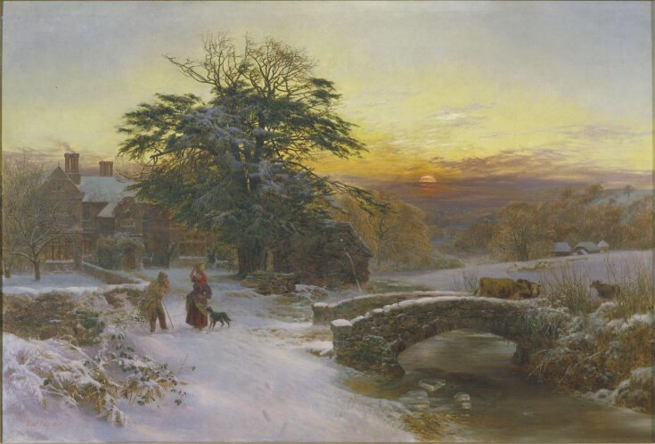 Winter scene with cattle and figures top image