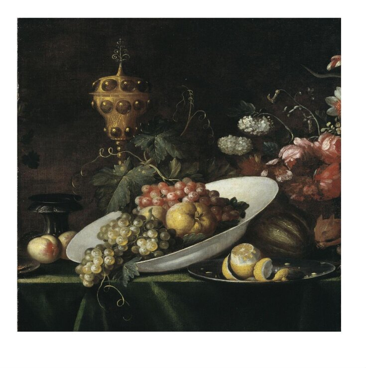 Fruit piece, with covered gilt goblet top image
