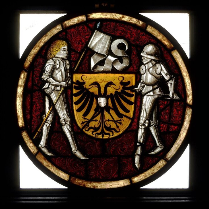 Shield of arms with knight supporters top image