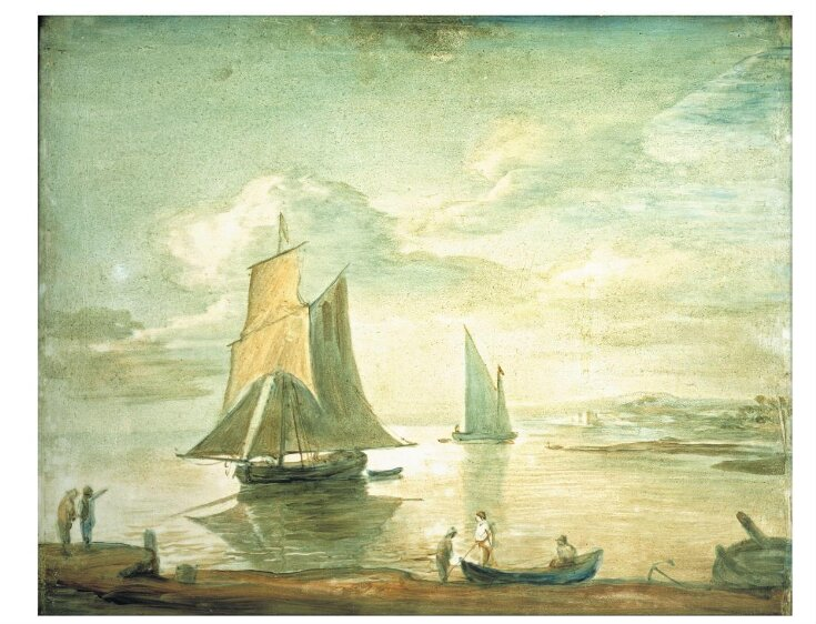Coastal Scene with Sailing and Rowing Boats and Figures on Shore top image