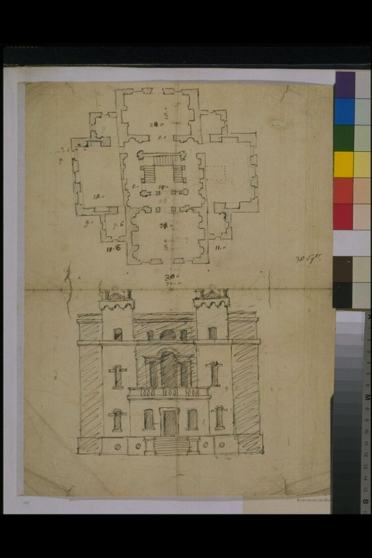 Sketch plan and elevation, Sir William Saunderson's House, Greenwich top image