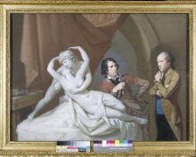 Antonio Canova in his studio with Henry Tresham and a plaster model for Cupid and Psyche thumbnail 1