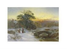 Winter scene with cattle and figures thumbnail 1