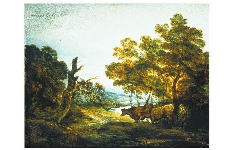 Wooded Landscape with a Herdsman and Two Cows top image
