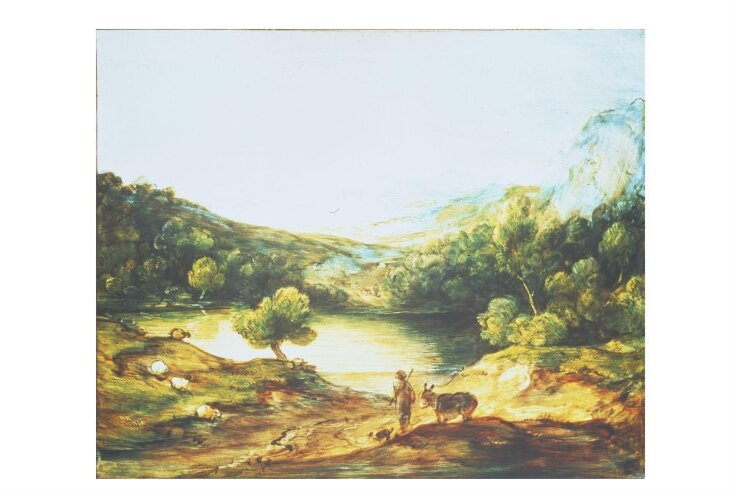 Wooded Upland Landscape with Shepherd, Donkey and Scattered Sheep, Lake and Distant Village and Hills top image