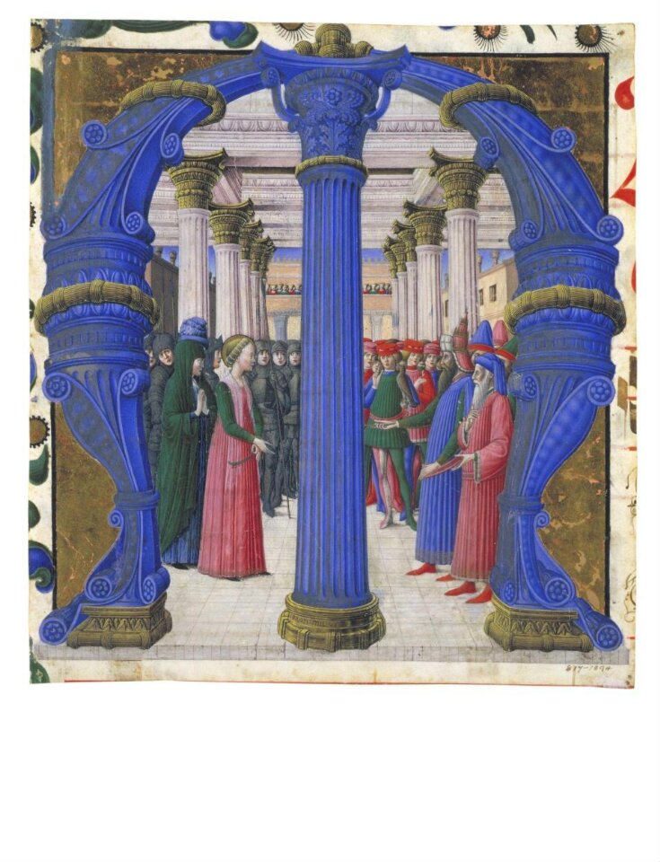 Historiated initial with St Giustina disputing with Maximian top image
