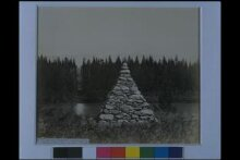 Stone pyramid on the 49th Parallel, on the right bank of the eastern intersection of the Kootenay River, cutting on the left bank thumbnail 1