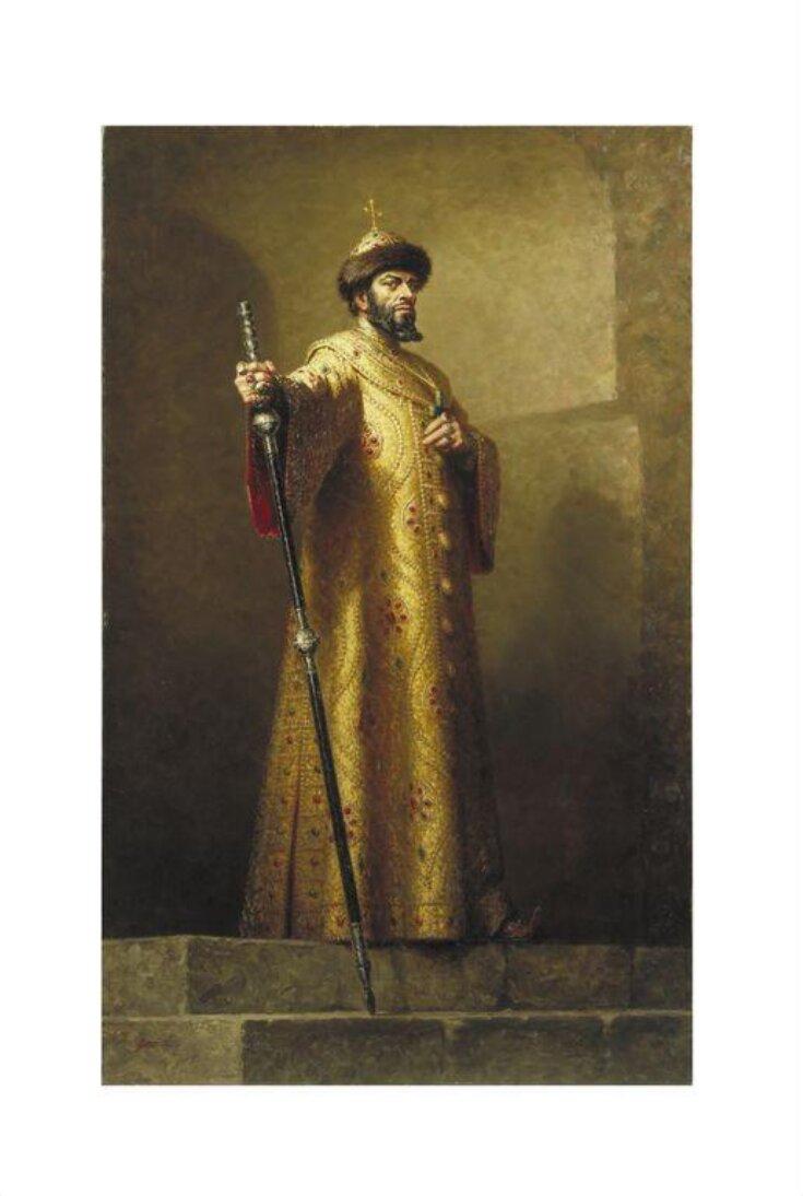 Boris Christoff as Boris Godunov in Boris Godunov by Modest Mussorgsky. Painting by Leonard Boden (1911-1999) top image