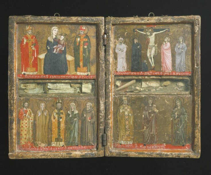 The Crucifixion with a donor in monastic habit, with the Virgin, Saints John the Evangelist, Scholastica and Agnes top image
