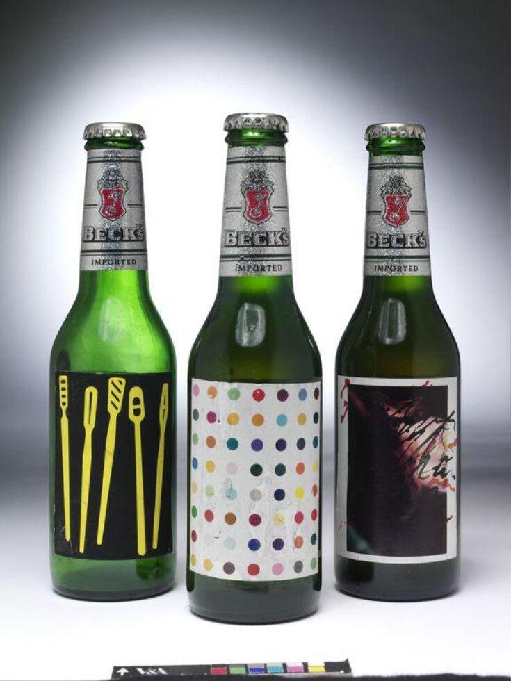 Bottle of Becks Beer with label designed by Damien Hirst top image