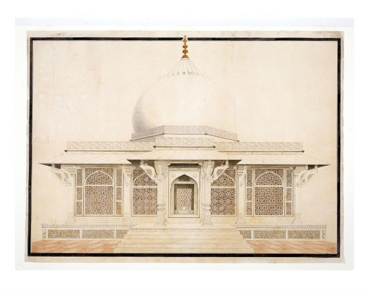 Two drawings of Mughal monuments. top image
