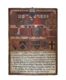 Tavoletta di Biccherna: The Camarlingo Niccolò di Leonardo della Gazaia, His Scrivener and Three taxpayers thumbnail 1