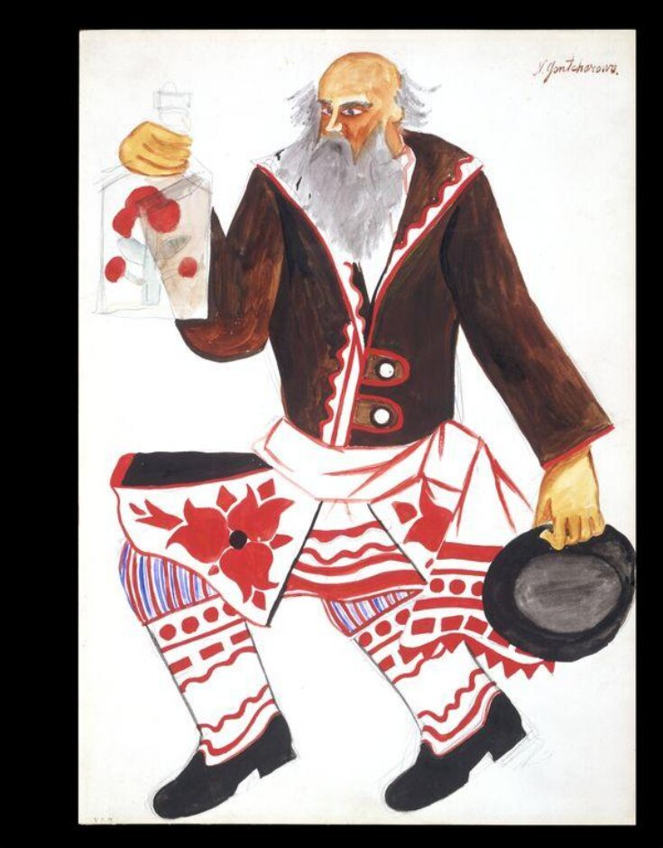 Costume design for 'Le Coq d'Or', Russian Peasant with a Flask of Vodka. top image