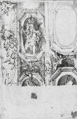 Recto: Sketch showing details of a decorative scheme for the eastern vault of the Madonna della Steccata, Parma thumbnail 2