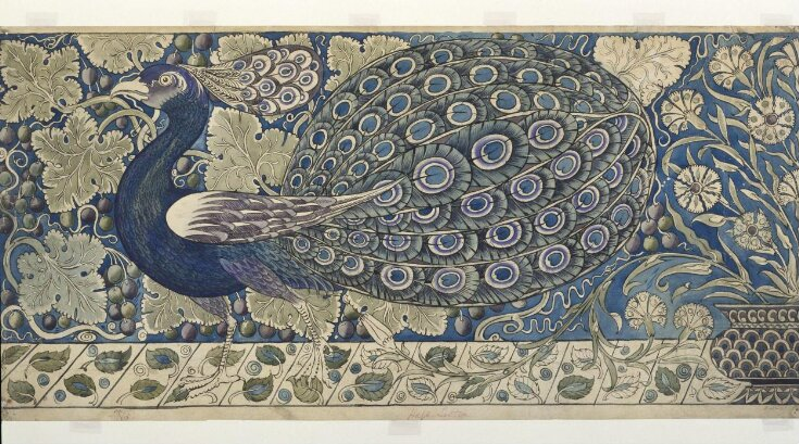 Design for a tile panel with peacock top image
