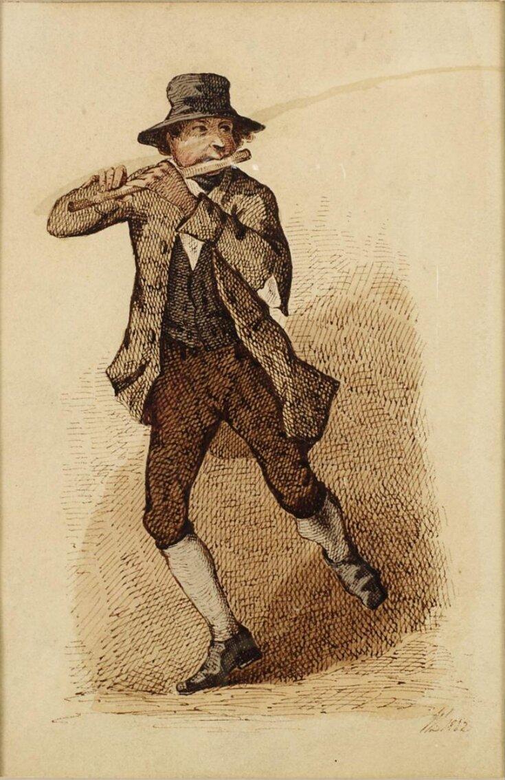 An Irish flute player dancing a jig top image