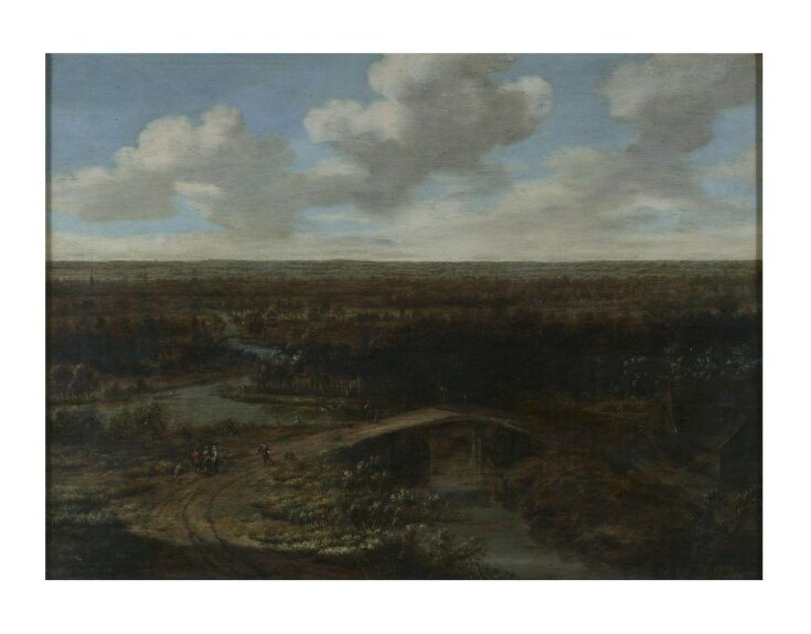 Landscape with a town in the middle distance top image