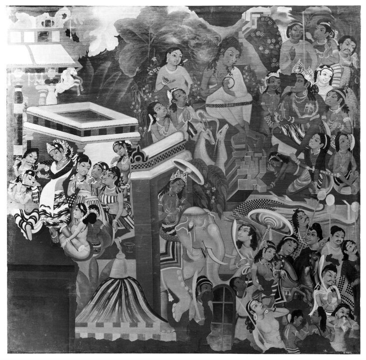 Copy of painting inside the caves of Ajanta (cave 1) top image