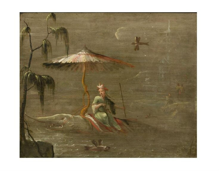 A Chinese Dignitary Riding a Fish (one of eleven panels with Chinoiserie decoration) top image