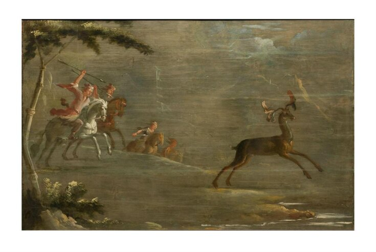 A Band of Tartar Horsemen Hunting an Elk (one of eleven panels with Chinoiserie decoration) top image