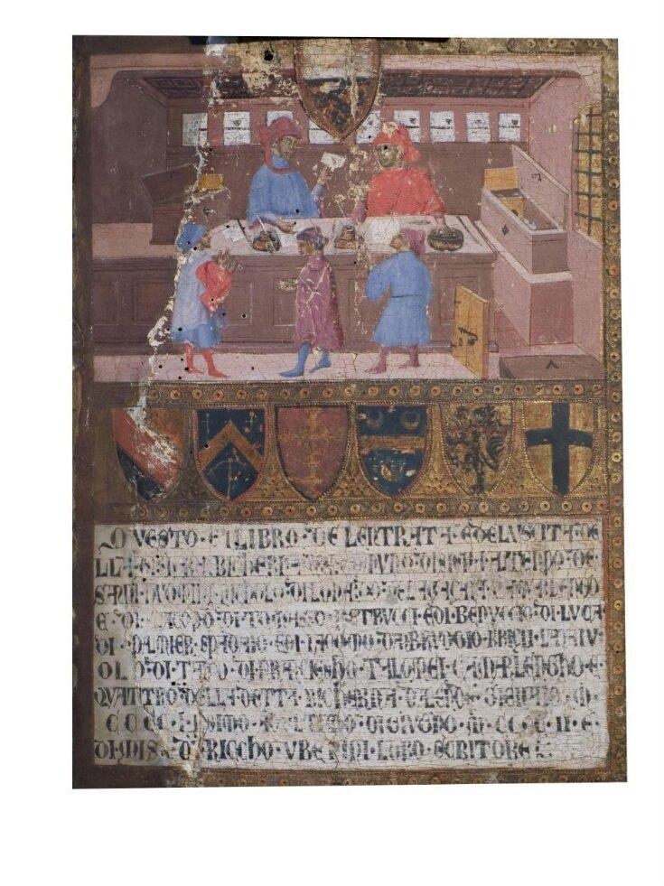 Tavoletta di Biccherna: The Camarlingo Niccolò di Leonardo della Gazaia, His Scrivener and Three taxpayers top image