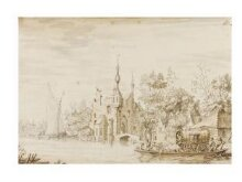 Fantasy view of the ruins of a castle on a river, with a barge crossing the ford thumbnail 1