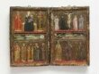 The Crucifixion with a donor in monastic habit, with the Virgin, Saints John the Evangelist, Scholastica and Agnes thumbnail 2
