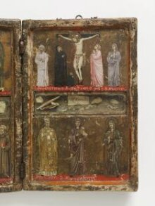 The Crucifixion with a donor in monastic habit, with the Virgin, Saints John the Evangelist, Scholastica and Agnes thumbnail 1