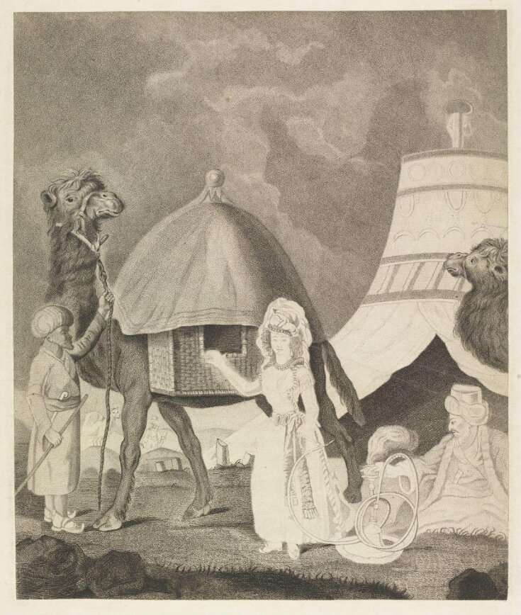 A Woman in European dress, a Camel Driver, and a Man in Oriental Attire  top image