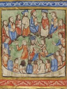 Leaf from a Psalter (Eadwine Psalter) with scenes from the New Testament thumbnail 1