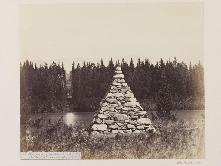 Stone pyramid on the 49th Parallel, on the right bank of the eastern intersection of the Kootenay River, cutting on the left bank top image