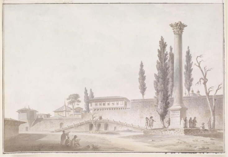 The Gardens of the Seraglio with European visitors inspecting the Column of the Goths, Constantinople top image