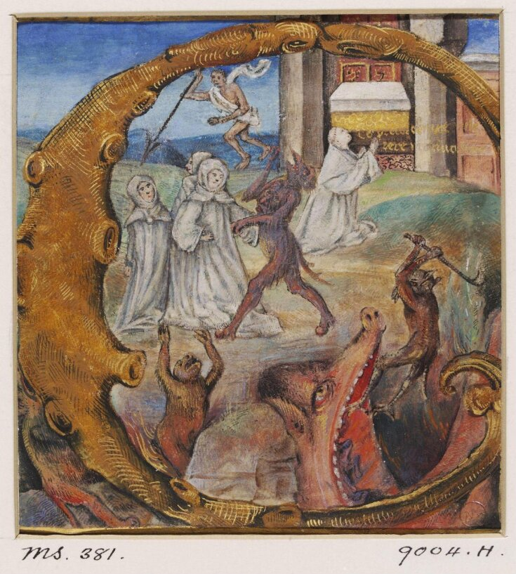 Initial with St Bernard and Cistercian monks top image