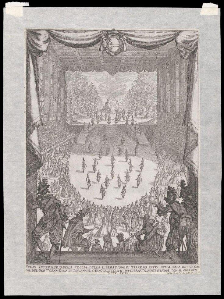 Primo Intermedio della veglia della liberatione di tirreno fatta nella sala delle comdie del Ser.mo Duca di Toscana il carnovale del 1616 dove si rap.va, il monte d'Ischia con il gigante tifeo sotto top image