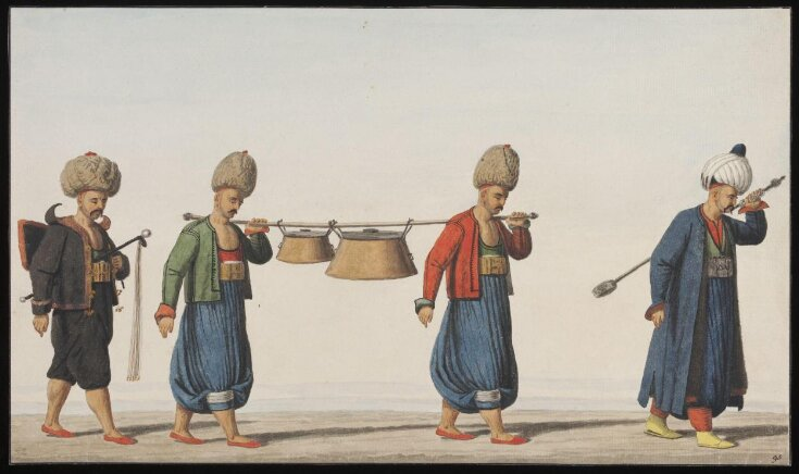 Janissaries with soup kettles and the regimental spoon top image