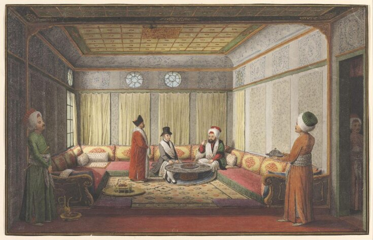A British Official [probably the Ambassador Stratford Canning] dining with the Kaymakam of Istanbul top image