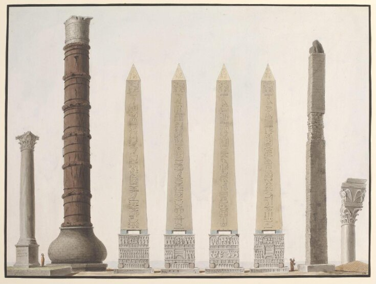 An illustration showing the ancient columns and the Egyptian oblelisk top image