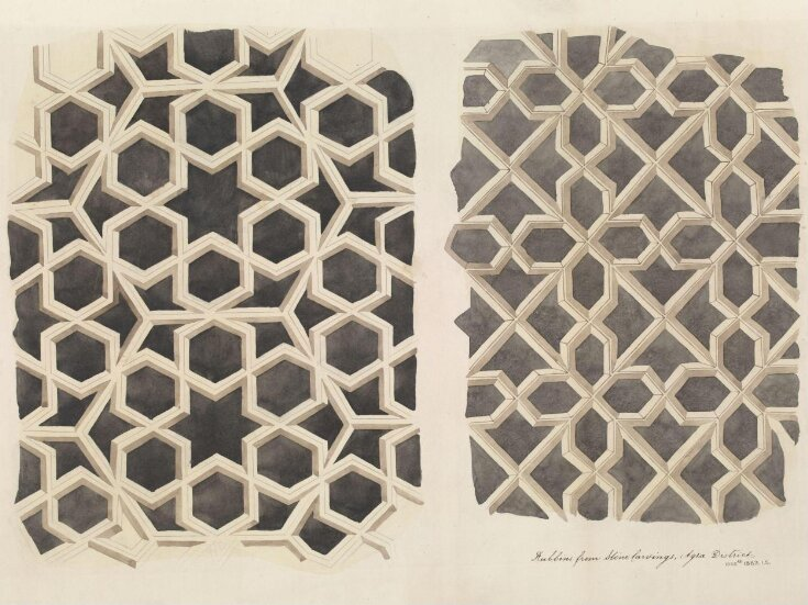 One of twenty-nine drawings of details of architectural ornament taken from rubbings of stone decoration on monuments in Agra district, including Fatehpur Sikri and Sikandra. top image