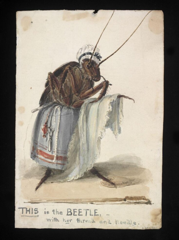 THIS is the BEETLE with her thread and needle top image