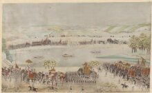 The royal procession of Shah Alam II with his army processing from right to left along the banks of a river. thumbnail 1