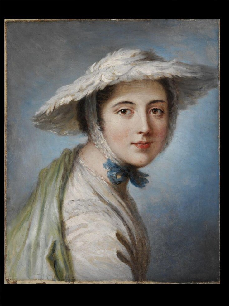 Head of a Girl Wearing a White Hat top image