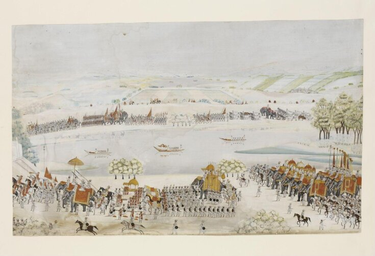 The royal procession of Shah Alam II with his army processing from right to left along the banks of a river. top image