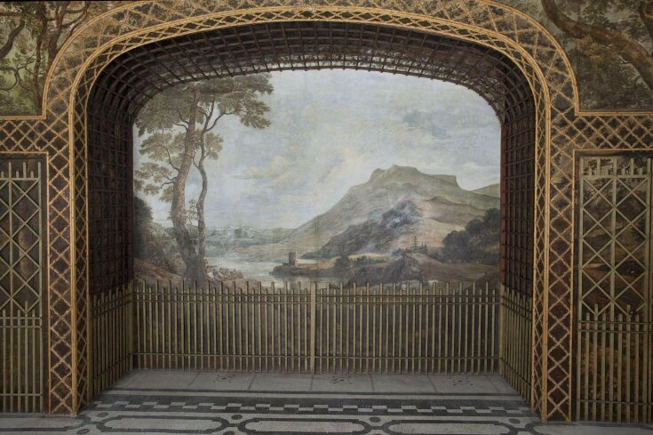Landscape with Castle (fresco from the Painted Dining Room, Drakelow Hall) top image