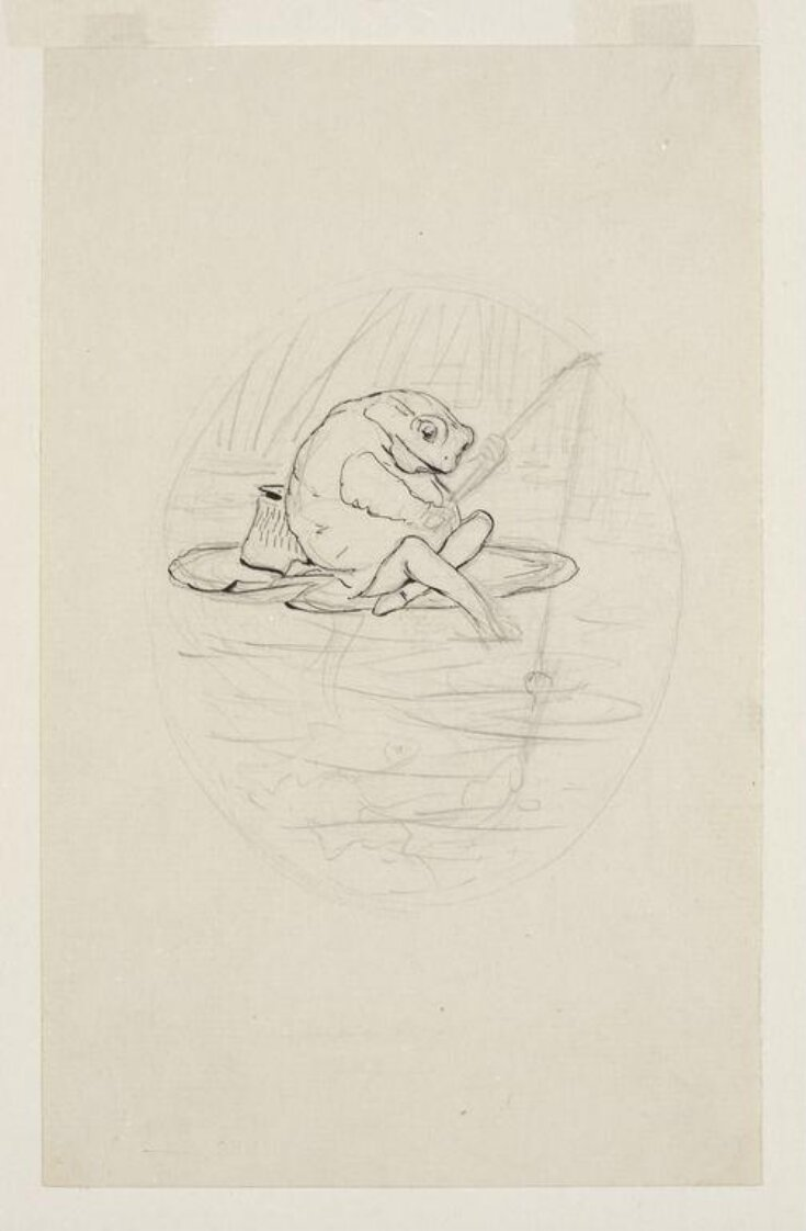 Jeremy Fisher sitting on a water lily leaf, fishing: preparatory drawing for The tale of Mr. Jeremy Fisher top image