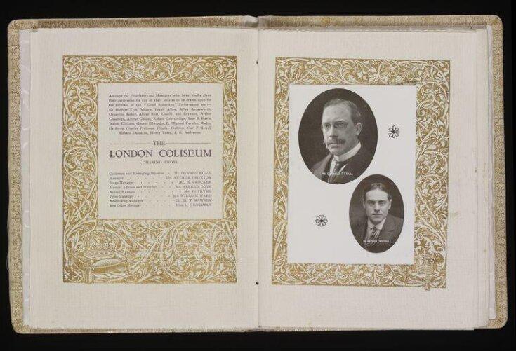 Souvenir silk-covered booklet, Coliseum Theatre, 11 October 1913 top image