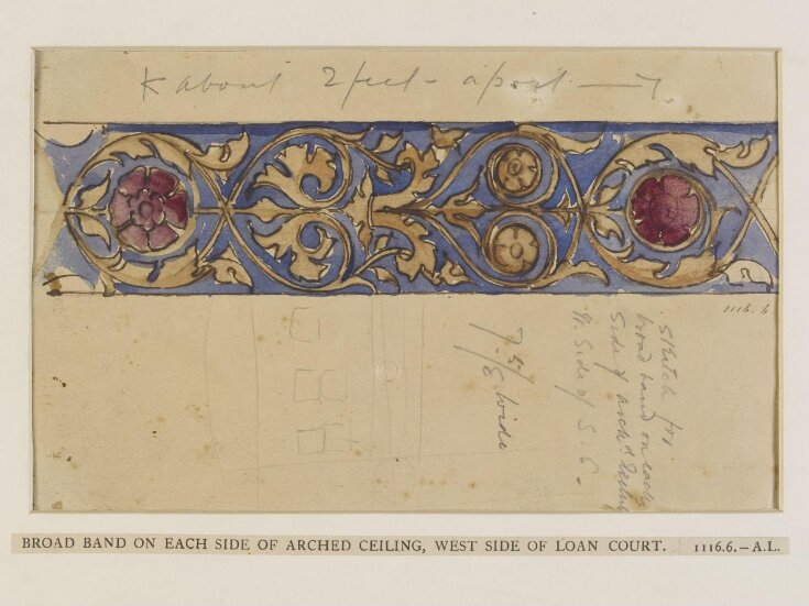 Broad band on each side of arched ceiling, west side of loan court top image